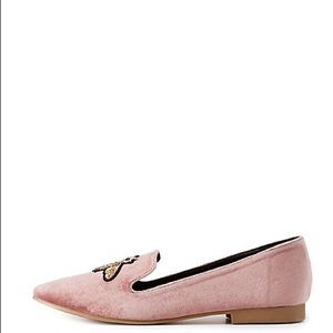 2a6f9b6e060 Qupid Shoes - QUPID Blush Velvet Loafers with Jeweled Bees